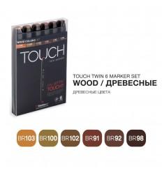 Набор маркеров TOUCH TWIN, 2 пера (долото и тонкое), 6 цветов древесные тона
