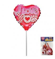 Шар фольгированный на палочке, I Love You, сердце, 24 х 26 см, 1шт