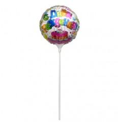 Шар фольгированный на палочке, С днем рождения, d-23см, 1шт