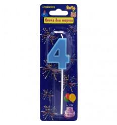 Свеча-цифра для торта 4 на палочке, разноцветная, 3,4см, парафин