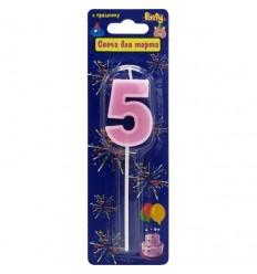 Свеча-цифра для торта 5 на палочке, разноцветная, 3,4см, парафин