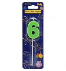 Свеча-цифра для торта 6 на палочке, разноцветная, 3,4см, парафин
