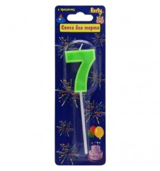 Свеча-цифра для торта 7 на палочке, разноцветная, 3,4см, парафин