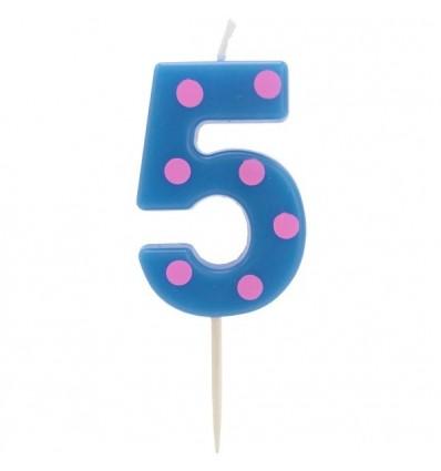Свеча-цифра для торта 5, разноцветная, 4,8см, парафин