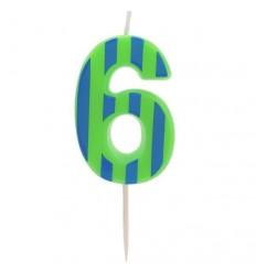Свеча-цифра для торта 6, разноцветная, 4,8см, парафин