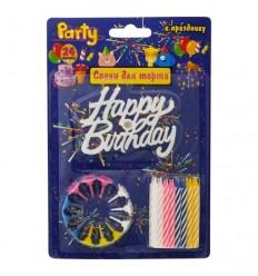 Набор свечей для торта, разноцветные c поздравлением HAPPY BIRTHDAY!, 6см, 24шт