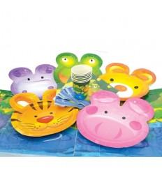 Набор для праздника ВЕСЕЛЫЕ ЖИВОТНЫЕ, бумажный (6 тарелок, 6 чашек, 6 салфеток, скатерть)