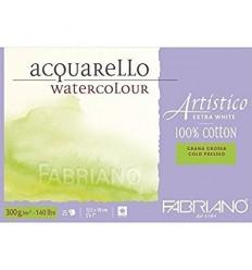 Альбом для акварели Fabriano Artistico Extra White Torchon 12,5x18см, 300гр., 25л., крупное зерно, склейка по 4-м сторонам