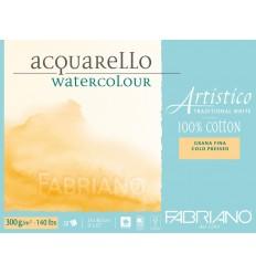 Альбом для акварели Fabriano Artistico Traditional White FIN 12,5x18см, 300гр., 25л., мелкое зерно, склейка по 4-м сторонам