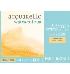 Альбом для акварели Fabriano Artistico Traditional White FIN 35,5x51см, 300гр., 15л., мелкое зерно, склейка по 4-м сторонам