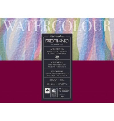 Альбом для акварели Fabriano Watercolour Studio FIN 30x40см, 200гр., 20л., мелкое зерно, склейка по 4-м сторонам