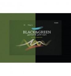 Альбом для рисования пастелью Kroyter BLACK & GREEN 7682, А3 10л., 760 гр, бумага Черная и Зеленая, Склейка