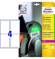Этикетки суперпрочные пленочные белые Avery Zweckform 99,1x139мм, А4, 10 листов, 40 этикеток, L7915-10