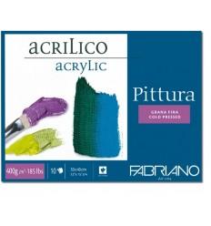 Альбом для акрила Fabriano Pittura 40x50см, 400гр., 10л., Фин среднее зерно, склейка по 4 сторонам
