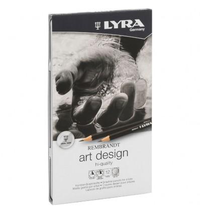 Набор простых карандашей LYRA ART DESIGN, 12шт. в металлической коробке