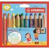 Набор цветных утолщенных карандашей STABILO WOODY 3 in 1, 10 цветов