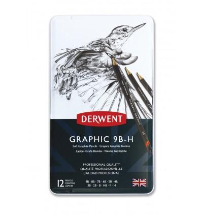 Набор чернографитовых карандашей Derwent GRAPHIC SOFT, 12 карандашей 9B-H, в металлической коробке