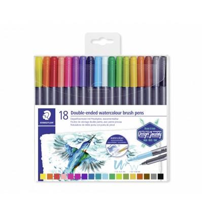 Фломастеры акварельные STAEDTLER Design Journey, 18 цветов, двусторонние