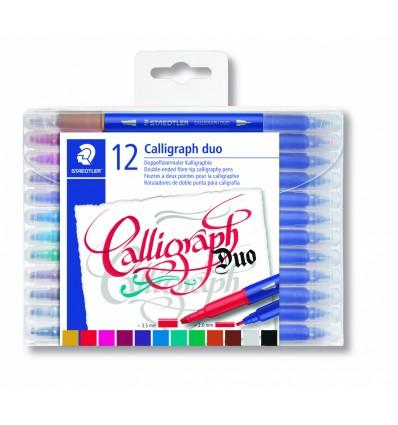 Фломастеры STAEDTLER Calligraph duo для письма и дизайна, 12 цветов, двусторонние