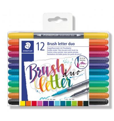 Фломастеры STAEDTLER Brush letter duo с наконечником кисточкой, 12 цветов, двусторонние