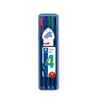 Набор шариковых ручек STAEDTLER Triplus Ball 437 M, Яркие цвета, 0,5мм, 4 цвета в пенале