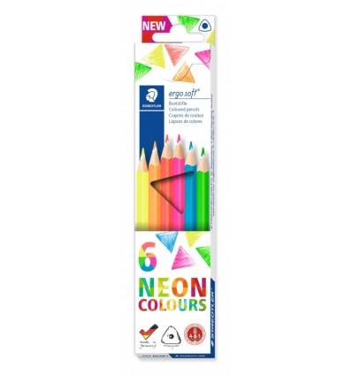 Набор треугольных цветных карандашей STAEDTLER Ergosoft 157, 6 неоновых цветов