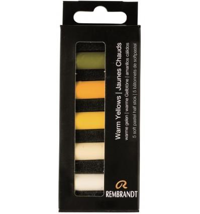 Набор сухой пастели REMBRANDT ROYAL TALENS - 5 желтых теплых цветов, 1/2 стандартного мелка, картон