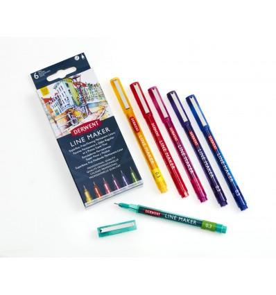 Набор капиллярных ручек DERWENT Line Maker 0,3мм, 6 цветов