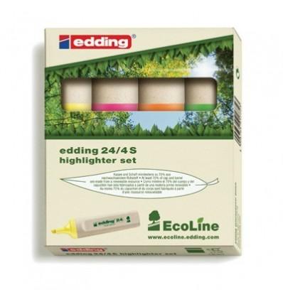Набор текстовыделителей EDDING ECO E-24, скошенный наконечник, 1-5мм, 4 цвета