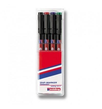 Набор маркеров для пленок Edding E-141, круглый наконечник, 0,6 мм., 4 цвета