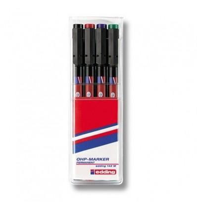 Набор маркеров для пленок Edding E-142 M, круглый наконечник, 1 мм., 4 цвета