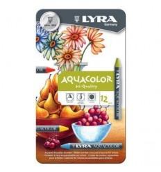 Восковые акварельные мелки Lyra Aquacolor, 12 цветов в металлической коробке
