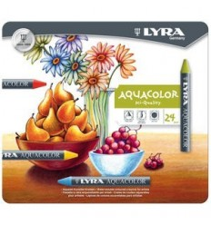 Восковые акварельные мелки Lyra Aquacolor, 24 цветов в металлической коробке