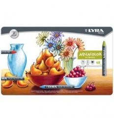 Восковые акварельные мелки Lyra Aquacolor, 48 цветов в металлической коробке