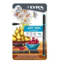 Набор фломастеров Lyra Hi-Quality Art Pen, 10 цветов в металлической коробке