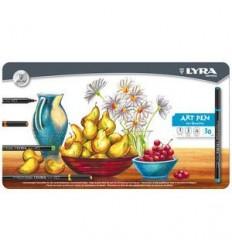 Набор фломастеров Lyra Hi-Quality Art Pen, 30 цветов в металлической коробке