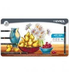 Набор фломастеров Lyra Hi-Quality Art Pen, 40 цветов в металлической коробке
