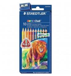 Набор цветных треугольных карандашей STAEDTLER Noris Club, 10 цветов с точилкой