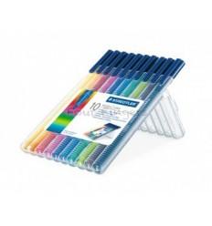 Набор фломастеров STAEDTLER Triplus Color, 10 цветов в прозрачном пенале