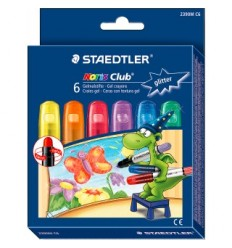 Набор гелевых мелков в пластиковом корпусе, выкручивающиеся, STAEDTLER Noris Club, 6 блестящих цветов
