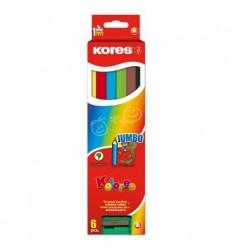 Карандаши трехгранные цветные Kores Jumbo, 6 цветов с точилкой