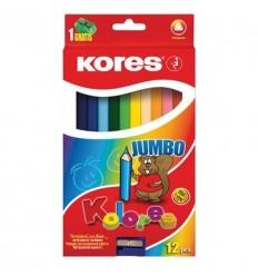 Карандаши трехгранные цветные Kores Jumbo, 12 цветов с точилкой