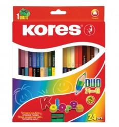 Карандаши двухсторонние цветные Kores Colores DUO, с точилкой, 24 штуки - 48 цветов