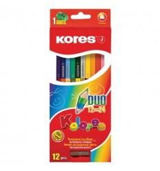 Карандаши двухсторонние цветные Kores Colores DUO, с точилкой, 12 штук - 24 цвета