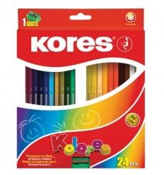 Карандаши цветные шестигранные Kores Kolores, 24 цвета с точилкой