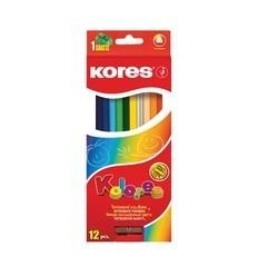 Карандаши цветные трехгранные Kores Kolores, 12 цветов с точилкой