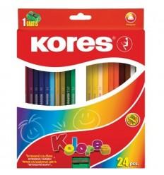 Карандаши цветные трехгранные Kores Kolores, 24 цвета с точилкой