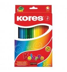 Карандаши цветные трехгранные Kores Kolores, 36 цветов с точилкой