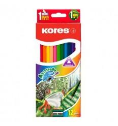Карандаши цветные акварельные Kores, 12 цветов с кисточкой и точилкой