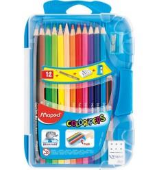 Карандаши цветные MAPED COLOR'PEPS, 12 цветов, точилка, ластик в пластиковом пенале